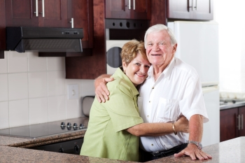 Couple living in affordable senior apartments.