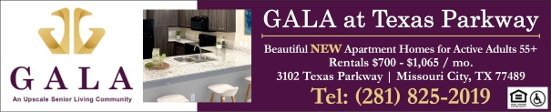 Gala of Texas Parkway Apartments for Active Adults 55+ Missouri City TX