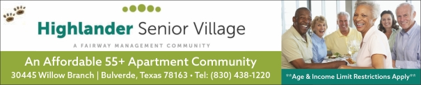 Highlander Senior Village Affordable 55+ Apartments North of San Antonio TX