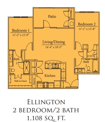Mariposa Spring Hollow Ellington 2/2 Floor Plan