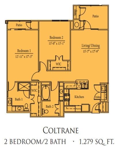 Mariposa Spring Hollow Coltrane 2/2 Floor Plan