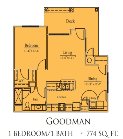 Mariposa Spring Hollow Goodman 1/1 Floor Plan