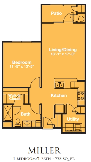 Mariposa ApartmentHomes at Jason Avenue 55+ One Bedroom One Bath Floor Plan - Amarillo, TX