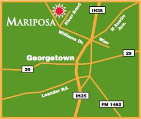 Mariposa Apartment Homes at River Bend 55+ Georgetown, Texas - Map and Directions