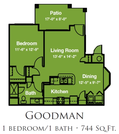 Mariposa Apartment Homes at River Bend 55+ Georgetown, Texas - One Bedroom One Bath Floor Plan