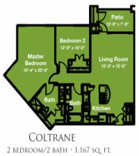 Mariposa Apartment Homes at River Bend 55+ Georgetown, Texas - Two Bedroom Two Bath Floor Plan
