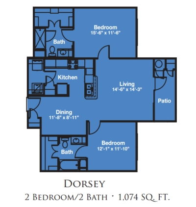 Mariposa Apartment Homes at Reed Road One Bedroom Two Bath Floor Plan - Houston TX 55+