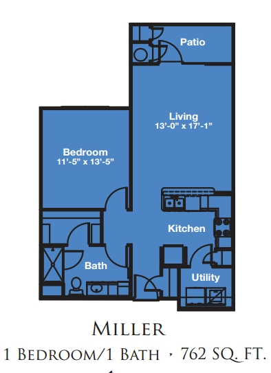 Mariposa Apartment Homes at Reed Road One Bedroom Floor Plan - Houston TX 55+