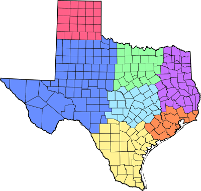 Click on a Texas Region
