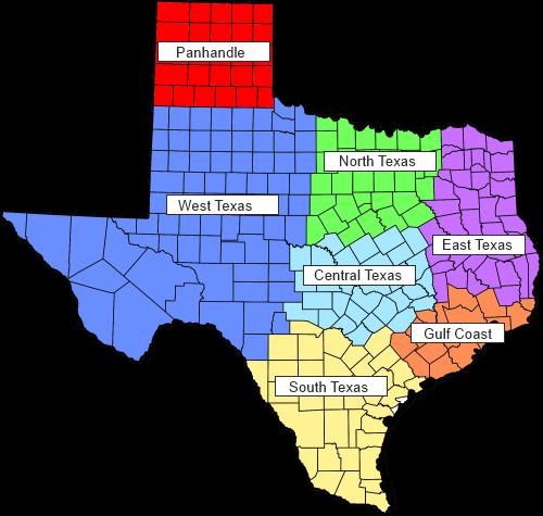 Regions Of Texas Map Of Texas Big Bend Country Gulf Coast